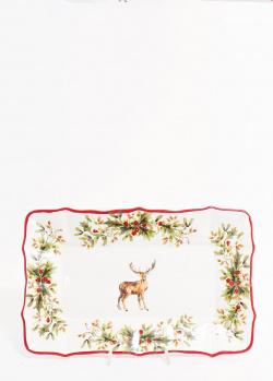 Керамическое блюдо Villa Grazia Новогодний олень 35×23см, фото