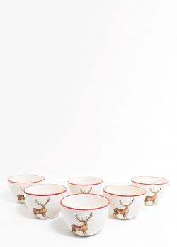 Набор пиал Villa Grazia Новогодний олень из керамики, фото
