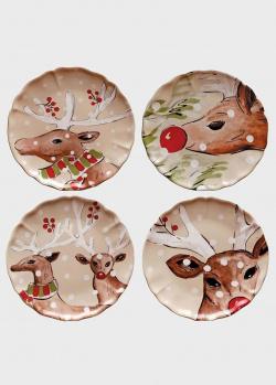 Набор обеденных тарелок бежевый Casafina Deer Friends 4шт, фото