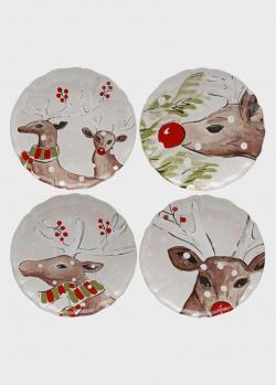 Набор из 4-х обеденных тарелок белый Casafina Deer Friends, фото