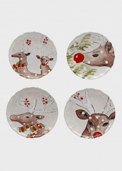 Набор тарелок для салата белый Casafina Deer Friends 4шт, фото