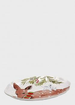 Блюдо овальное белое Casafina Deer Friends, фото