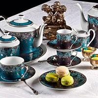 Чайный набор Deshoulieres Dhara Blue на 6 персон из 14 предметов, фото