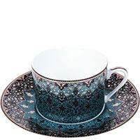 Набор чашек с блюдцами Deshoulieres Dhara Blue синего цвета 6шт, фото