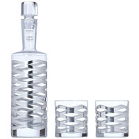 Набор для виски Egizia Onde Silver из штофа и 2 бокалов, фото