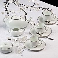 Чайный сервиз Deshoulieres Epure Blanc на 6 персон из 14 предметов, фото