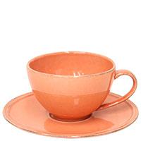 Чашка с блюдцем Costa Nova Friso оранжевого цвета, фото