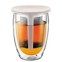 Кружка Bodum Tea for one с чайным ситечком белого цвета 0,35 л, фото