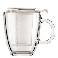 Кружка Bodum Yo-Yo с чайным ситечком белого цвета 0,35 л, фото