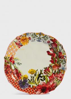 Обеденная тарелка Baci Milano B&R Milano 26,5см с цветами, фото