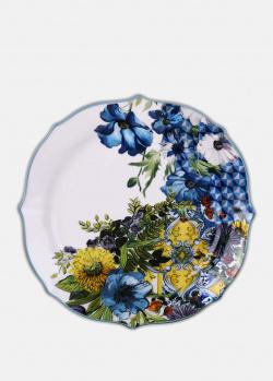 Десертная тарелка Baci Milano B&R Milano 20,5см с изображением цветов, фото