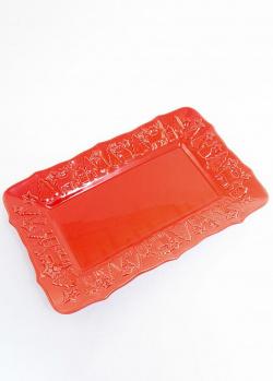 Прямоугольное блюдо Villa Grazia красного цвета, фото