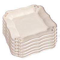 Набор из 6 тарелок Costa Nova Barroco белого цвета 14х14см, фото