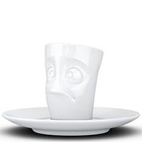 Белая чашка Tassen (58 Products) Baffled с блюдцем, фото