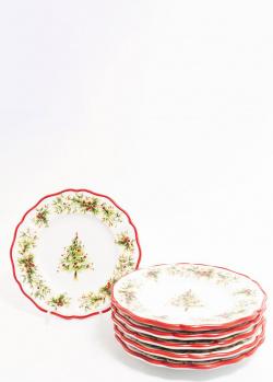 Набор тарелок Villa Grazia Новогодняя красавица 21см 6шт, фото