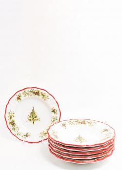 Набор суповых тарелок Villa Grazia Новогодняя красавица 25см 6шт, фото