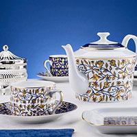 Чайный сервиз Deshoulieres Vignes с растительным орнаментом на 6 персон, фото