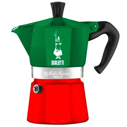 Кофеварка гейзерная Bialetti Moka Express Italia зеленая с красным, фото