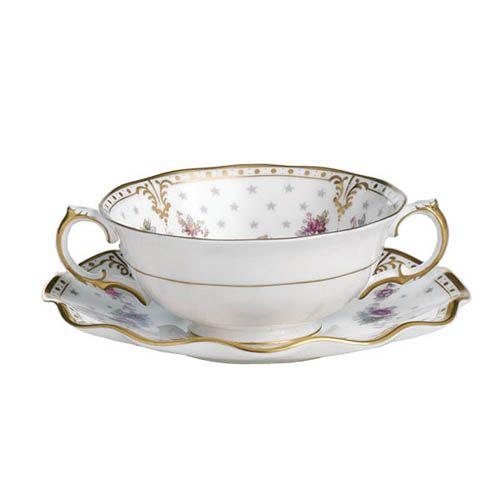 Чашка суповая Royal Crown Derby Antoinette с блюдцем, фото