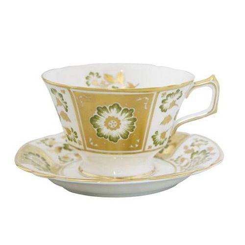 Чашка чайная с блюдцем Royal Crown Derby Panel Green, фото