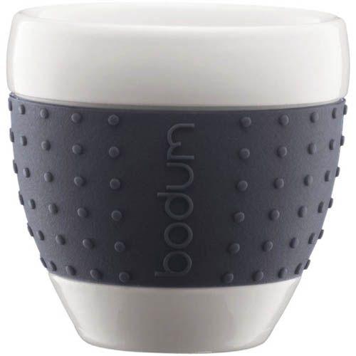 Набор чашек Bodum Pavina фарфоровые с силиконовыми вставками темно-серого цвета, фото