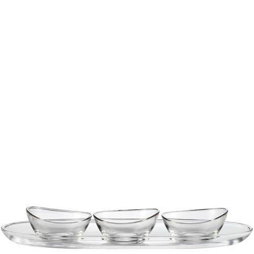 Набор Schott Zwiesel Lagoon из сервировочного блюда с 3 пиалами из прочного хрустального стекла, фото