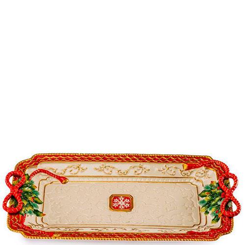 Прямоугольное блюдо Palais Royal с красным кантом, фото