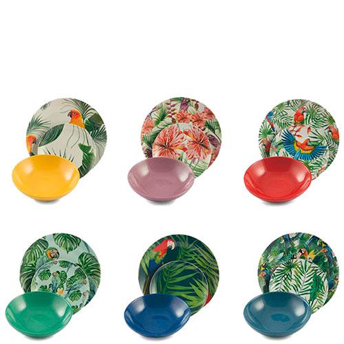 Яркий набор тарелок на 6 персон Villa d'Este Джунгли, фото