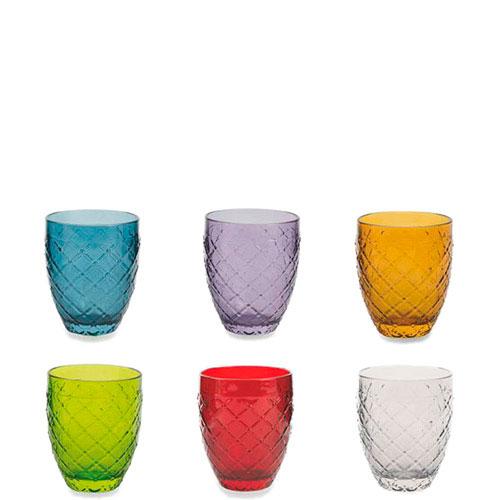 Набор цветных стаканов Villa d'Este для воды 6шт, фото