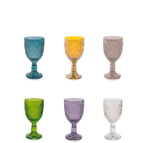 Набор из 6 винных бокалов Villa d'Este разного цвета, фото
