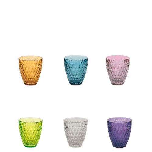Набор стаканов Villa d'Este для воды разного цвета 6шт, фото