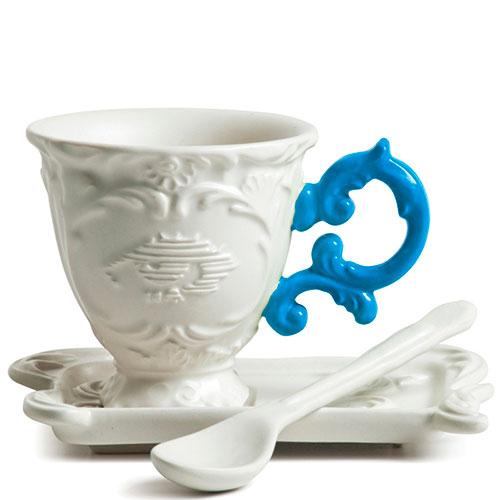 Кофейная чашка Seletti Coffee с блюдцем и ложкой синяя, фото