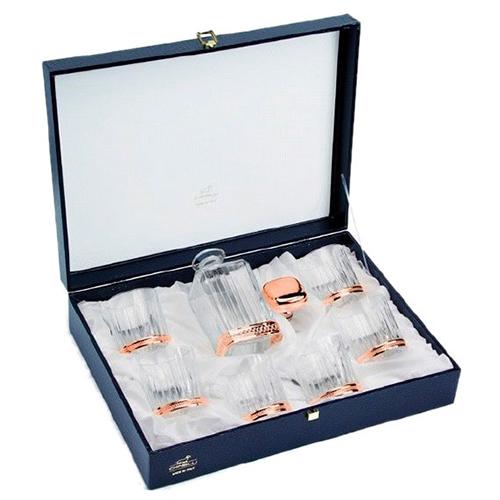 Хрустальный набор с позолоченными элементами Chinelli Lacy Rose из 6 бокалов для виски и графина, фото