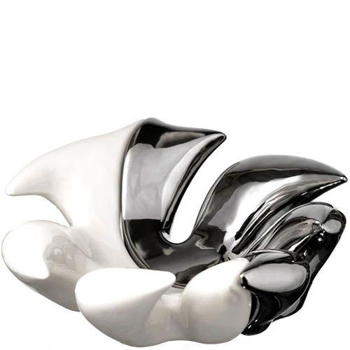Фруктовница Eterna керамическая из совмещенных серебристой и белой половинок, фото