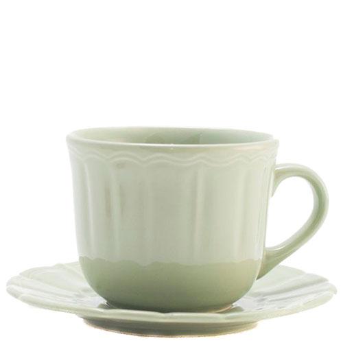 Чашка для чая с блюдцем Comtesse Milano Ritmo светло-зеленая, фото