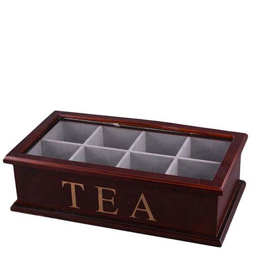 Деревянная чайница коричневого цвета, фото
