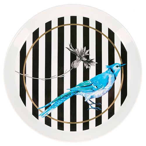 Полосатая тарелка Miss Etoile с синей птицей, фото