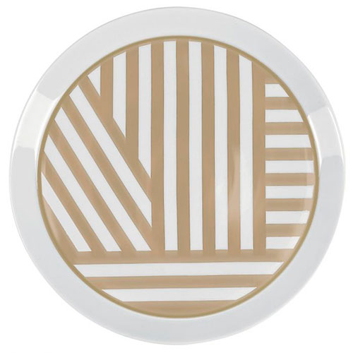 Белая тарелка Miss Etoile с золотистым узором, фото