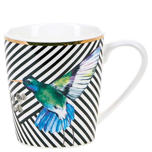 Чашка Miss Etoile в черную полоску с колибри, фото