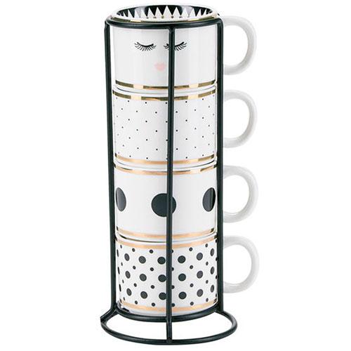 Набор кофейных чашек Miss Etoile белого цвета с принтом, фото