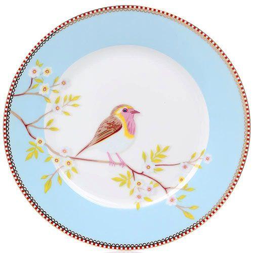 Тарелка Pip Studio Floral диаметром 21 см голубая, фото