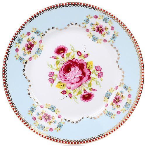 Тарелка Pip Studio Floral диаметром 17 см голубая с цветочным принтом, фото
