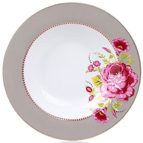 Глубокая тарелка Pip Studio Floral диаметром 26 см светло-коричневая с крупным цветком, фото