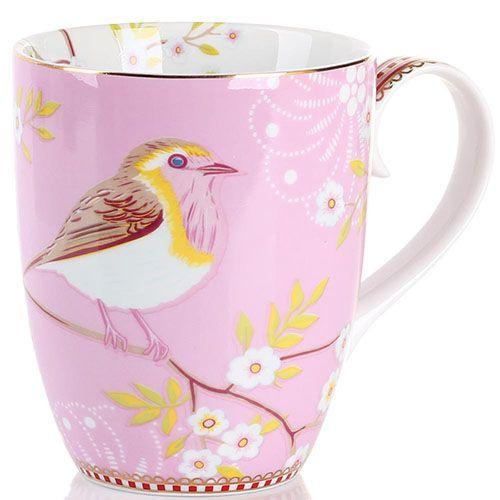 Кружка Pip Studio Floral с птичкой розовая 350 мл, фото