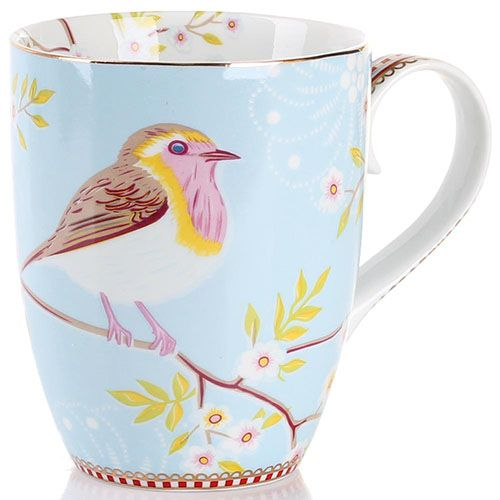 Кружка Pip Studio Floral с птичкой голубая 350 мл, фото