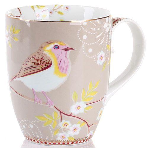Кружка Pip Studio Floral с птичкой светло-коричневая 350 мл, фото