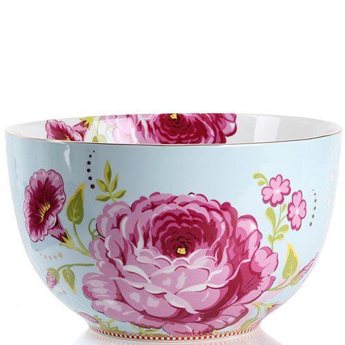 Большая пиала Pip Studio Floral голубая с цветочным принтом, фото