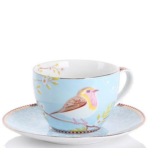 Чашка с блюдцем Pip Studio Floral голубая с птичкой 280 мл, фото