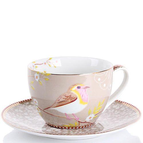 Чашка с блюдцем Pip Studio Floral светло-коричневая с птичкой 280 мл, фото