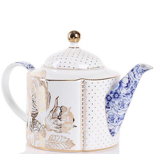 Чайник Pip Studio Royal бело-синий с золотым принтом 1.6 л, фото
